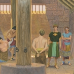 A painting by Jerry Thompson depicting Alma and Amulek in prison.