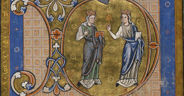 Section of English Psalter England (c.1220-c.1225) with two female personifications Mercy and Truth (source: Fitzwilliam Museum)