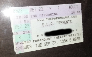 The actual ticket stub from our first date.